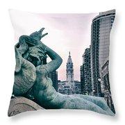 Swann Fountain Statue Throw Pillow