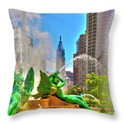 Swann Memorial Fountain - Hdr Throw Pillow
