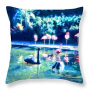 Swans And Flamingos Throw Pillow