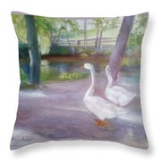 Swans At Smithville Park Throw Pillow