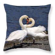 Swans Courting Throw Pillow