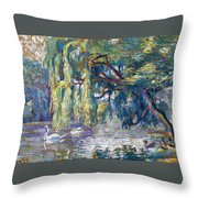 Swans Family . Forest Of Boulogne  Throw Pillow