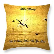 Swans Flying Over The Water Throw Pillow