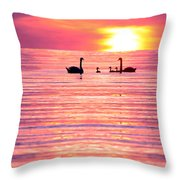 Swans On The Lake Throw Pillow by Jon Neidert