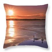 Swans Sunrise Throw Pillow