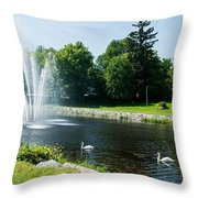Swans With A Fountain Throw Pillow