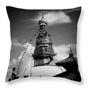 Swayambhunath Temple Black And White Throw Pillow by Raimond Klavins