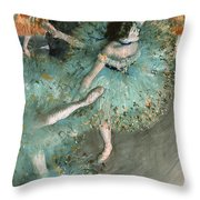 Swaying Dancer .dancer In Green Throw Pillow