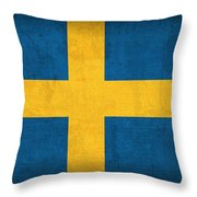 Sweden Flag Vintage Distressed Finish Throw Pillow