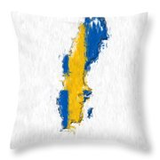 Sweden Painted Flag Map Throw Pillow