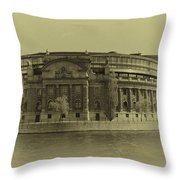 Swedish Parliament In Sepia Throw Pillow