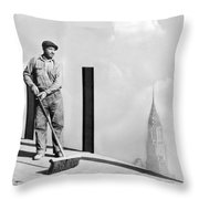 Sweeping The Empire State Bldg Throw Pillow