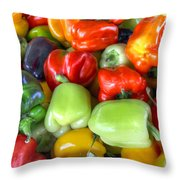 Sweet Bell Peppers Assorted Colors Throw Pillow