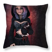 Sweet Betty With Gothic Doll Throw Pillow