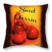 Sweet Cherries - Kitchen Art Throw Pillow