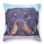 Rottweiler's Sweet Face Throw Pillow