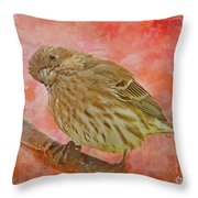 Sweet Female House Finch 3 - Digital Paint Throw Pillow