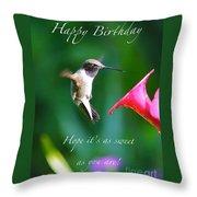 Sweet Hummingbird Birthday Card Throw Pillow