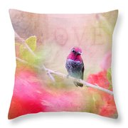Sweet Hummingbird Love Throw Pillow