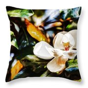 Sweet Magnolia Blossom Throw Pillow