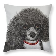 Sweet Miss Molly The Poodle Throw Pillow