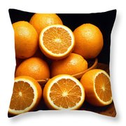 Sweet Oranges Whole And Halved Throw Pillow