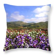 Sweet Peas Galore Throw Pillow