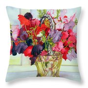 Sweet Peas In A Vase Throw Pillow