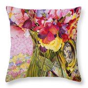Sweet Peas With Cherries And Strawberries Throw Pillow