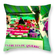 Sweet Ripe Strawberries Petits Fruits Du Quebec Direct From Farmers Market Food Art Carole Spandau  Throw Pillow