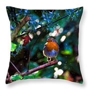 Sweet Robin Redbreast - Impressions Throw Pillow