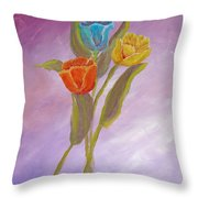 Sweet Tulips Throw Pillow