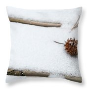 Sweetgum Seed Pod In The Snow Throw Pillow