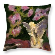 Sweetpeas And Silver Throw Pillow