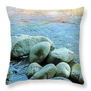 Swift River Rock Kancamagus Highway Nh Throw Pillow