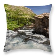 Swiftcurrent River At Many Glacier Throw Pillow