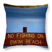 Swim Beach Sign Throw Pillow
