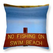 Swim Beach Sign L Throw Pillow