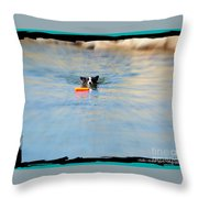 Swimmer In The Truckee River Throw Pillow