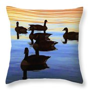 Swimming Geese Throw Pillow