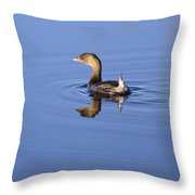 Swimming Grebe Throw Pillow