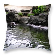 Swimming Hippo Throw Pillow