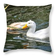 Swimming In The Pond Throw Pillow