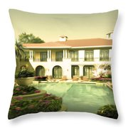 Swimming Pool In Luxury Hotel Throw Pillow