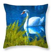 Swimming Swan And Ferns Throw Pillow