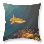 Swimming With Sharks Throw Pillow