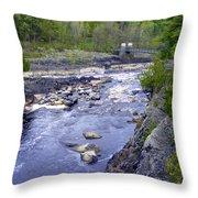 Swing Bridge Over The River Throw Pillow