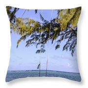 Swing Front Of The Ocean Throw Pillow