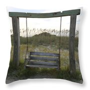Swing On The Beach Throw Pillow