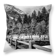 Swinging Bridge In Winter Throw Pillow